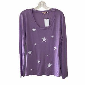 NWT Sundry Purple Long Sleeve Star Tee Lrg